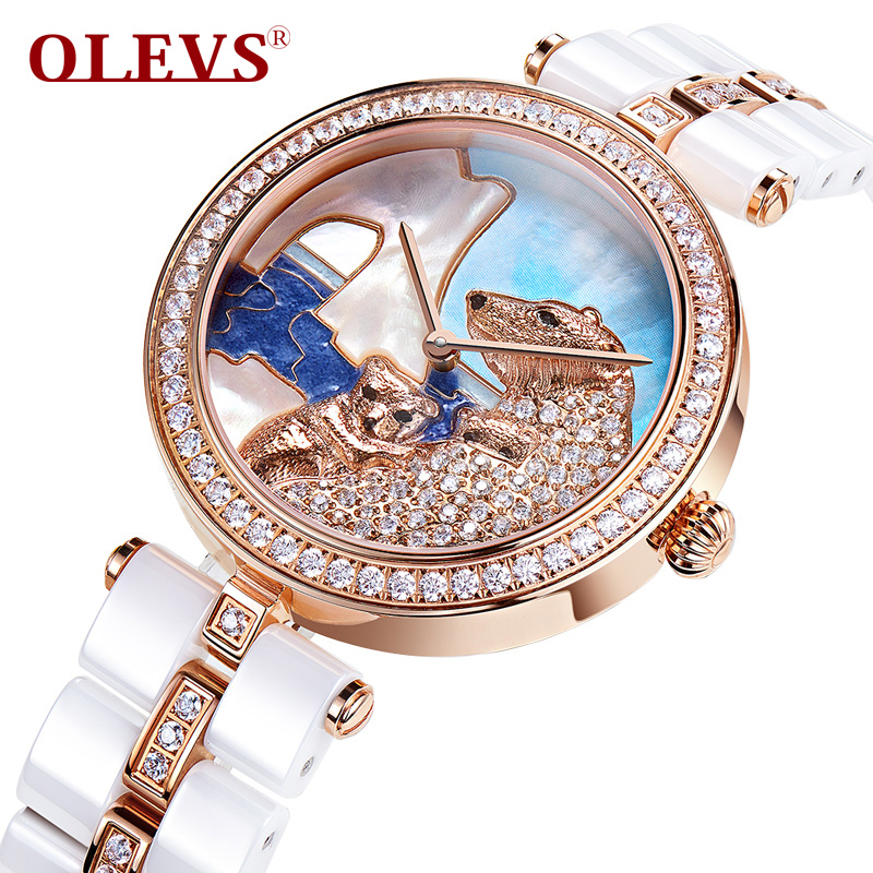 OLEVS Polar Bear Ladies Quartz Watches Micro Pave Zircon Women Ceramic Watch Clock Gold Dial Waterproof Female Wristwatches L134<br>
