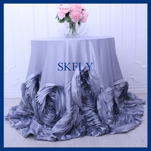 CL052JA round flower fancy wedding light grey taffeta cake rosette tablecloths(China)