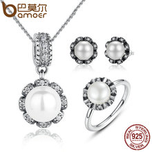BAMOER 925 Sterling Silver Everlasting Grace Freshwater Cultured Pearl Jewelry Sets Wedding Engagement Jewelry ZHS017(China)