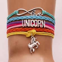 Drop Shipping Infinity Love UNICORN Bracelets & Bangles unicorn horse Charm Leather Bracelet Christmas jewelry Birthday Gift