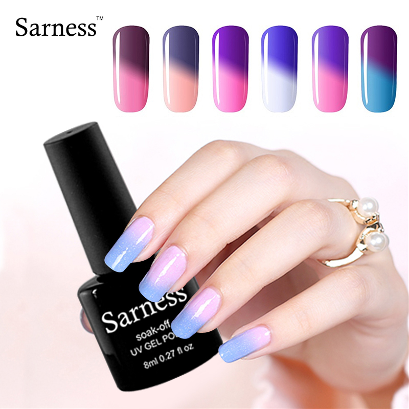 Sarness New Product Nail Art Soak Off Cheap Gel Chameleon Temperature Change Color Gel Nail Polish Permanentes Need Uv Led Lamp(China)