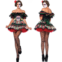 2016 Adult Skeleton Day of The Dead Costume Women's Sexy Sugar Skull Dia Flower Fairy Halloween ghost vampire Bride Fancy Dress