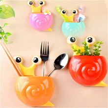 1 Pc Snail Cartoon Sucker Toothbrush Holder Cute Suction Hook Tooth Brush Cup Tool Bathroom Accessories 4 Colors Available(China)