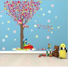 60*90cm Big Size Colorful Pawpaw Balloon Dream Tree Wall Stickers Bedroom Decor PVC Happy girl Wall Paper Vinyl Art Wall Mural