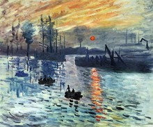 Sunrise 1872 by Claude Monet Oil Paintings for Living Room Handpainted Canvas Art Work Landscape Painting Impressionist(China)