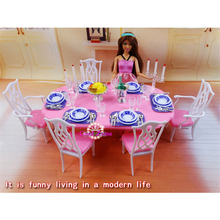 Miniature Furniture My Fancy Life Dining Room-2 for Barbie Doll House Toys for Girl Free Shipping(China)