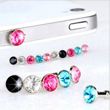 5Pcs hot-selling Cheap 3.5mm Universal mobile phone Rainbow Color Crystal Diamond Dust Cap Earphone Jack Plug for Sumsang for LG