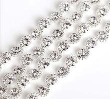 Free Shipping  5 yards Crystal Rhinestone Trim, Rhinestone Applique, Bridal Applique,Wedding Applique,Rhinestone Chain TONG017