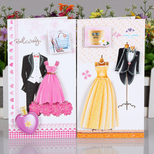 24pc/lot Wedding dress cloth message business card / 3D card/greeting Valentine's Day wish paper cards(China)