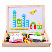 Wooden toyMultifunctional Educational Farm Jungle Animal Wooden Magnetic Puzzle Children Kids Jigsaw Baby's Drawing Board(China)