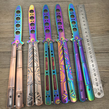 Stainless Steel knife butterfly Practice Butterfly Training Knife Black butterfly in knife Special holes rainbow color