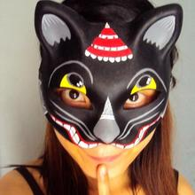 New Quality Handmade DIY Mask Halloween Black Kitty Cat Mask Cosplay Costume Paper Mache Pulp Mask(China)
