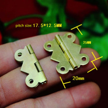 Yellow Metal Hinge,Cabinet Door Hinge 4 Holes Butterfly Antique,Vintage Butterfly Hinge,20*25mm,50Pcs