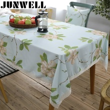 Junwell Polyester Printing Lace Tablecloth Waterproof  Colorful Floral Table Cloth Table Topper Different Sizes Available