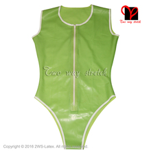 Buy Sleeveless Zip Front Latex Swimsuit Rubber Catsuit high cut leg Gummi Jumpsuit Unitard Sexy Latex leotard TC-024