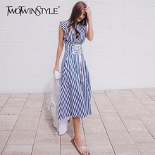 Buy TWOTWINSTYLE Lace Dress Women Striped Sleeveless Tunic High Waist Long Holiday Dresses 2018 Summer Fashion Korean Clothes for $21.00 in AliExpress store