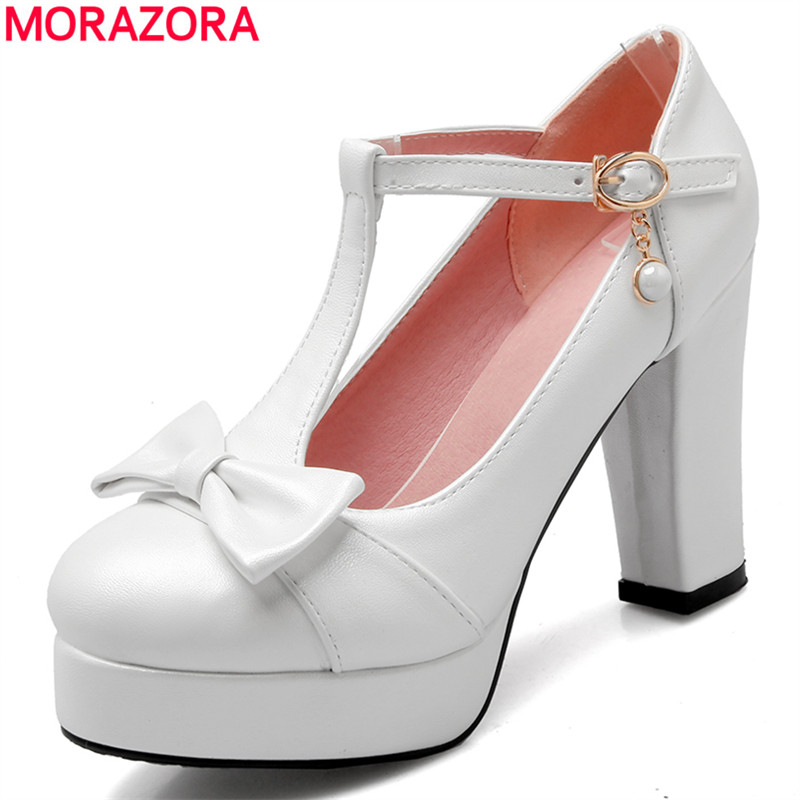 MORAZORA Newest high heels 10cm t -strap women pumps round toe platform shoes woman solid candy color sexy party shoes <br>
