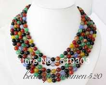 5 Strands 8 mm multi color onyx bead necklace(China)