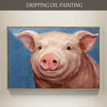 Hand-painted Animal Pig Oil Painting on Canvas Painter Hand-painted Modern Wall Art Animal Pig Head Oil Painting for Wall Decor(China)