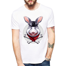 New Summer Style Hipster Men T-shirt Cool Rabbit Men Animal T-Shirt Cartoon Funny Fashion Tops Trend Shirts(China)