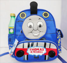 New carton Children backpacks Blue Color Thomas Train backpack for Kids Canvas Backpacks with Canvas children schoolbag