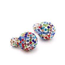 9 Colors New Arrival Double Sides Big Ball Earrings Colorful Shambhala Shinning Crystal Big Pearl Stud Earrings Women Brincos
