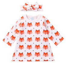 New 2017 Hot Sale Newborn Toddler Baby Girls Clothes Long Sleeved Cartoon Fox Dress+Headband 2pcs Outfit Infant Clothing Sets