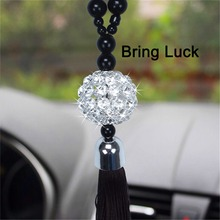 Car Rearview Mirror Hanging Ornament Home Interior Decor Buddha Beads Crystal Ball Lucky Charm Pendant Hangings For Handbag(China)