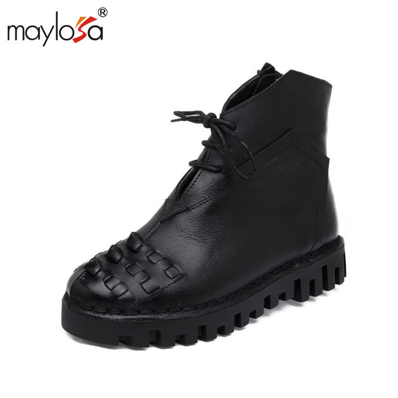 MAYLOSA women boots  Retro Boots Handmade Ankle Boots Flat Boots Real Genuine Leather Shoes Botines Mujer Women Shoes<br>