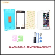 YUEYAO Touch Panel For iPhone 5 5S 5C Front Outer Lens Glass Screen Replacement Kit+Adhesive Tape+Tempered Glass+Tools+Tracking