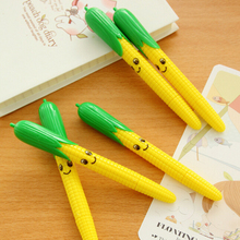 Rushed Canetas 2pcs School Supplies Material Escolar Funny Stationery Pen Cute Smiling Corn Ball Point lovely Gift