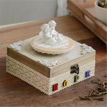 1Pc Home Decor Retro Crafts Storage Box Kid Toy Retro Birthday Gift Home Decor Angel And Sewing Mashine Image WS154(China)