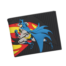 Civil War Superman vs Batman Wallet 3D Printing Black Striped Wallet Comics DC Purse Card Holder Bag Bifold Avengers Hero Wallet(China)