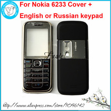 For Nokia 6233 New Full Complete Mobile Phone Housing Cover Case + English / Arabic / Russian Keypad+Tools, free shipping