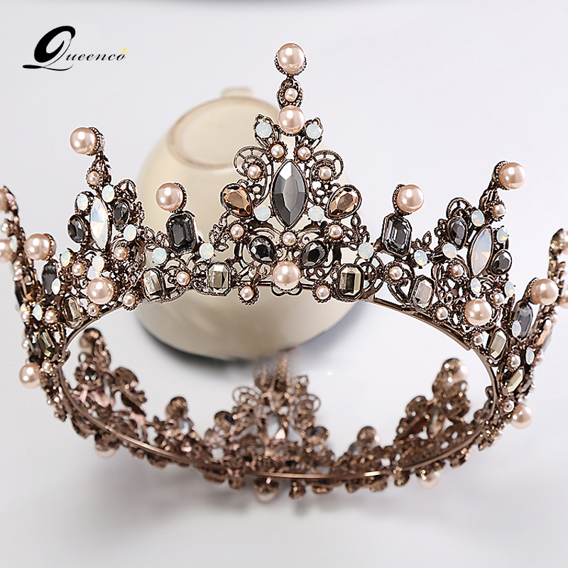 Baroque Crown Wedding Tiara Vintage Bridal Hair Accessories Hair Jewelry Alloy Tiaras Beauty Royal Crown Bridal Hair(China)
