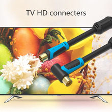 1/1.5/2/3/5M Super Long VAV-A02 90 Degree TV HD Cable Male To Male TV Satellite Digital Coaxial HD Signal Cable(China)