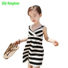 2017 Girl Striped Summer Dress Fashion Little Girl Backless Dresses Girls Sleeveless Beach Dress Kids Vest Sundress JillyKingdom