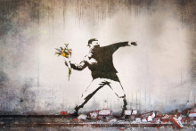 "Banksy Peace Art Graffiti Artist Fabric Poster 36"" x 24"" 20""x13""--03"