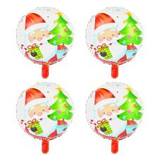 4pcs 18-Inch Merry Christmas Foil Balloon Lovely Printed Christmas Mylar Balloon For Christmas Xmas Party Decoration