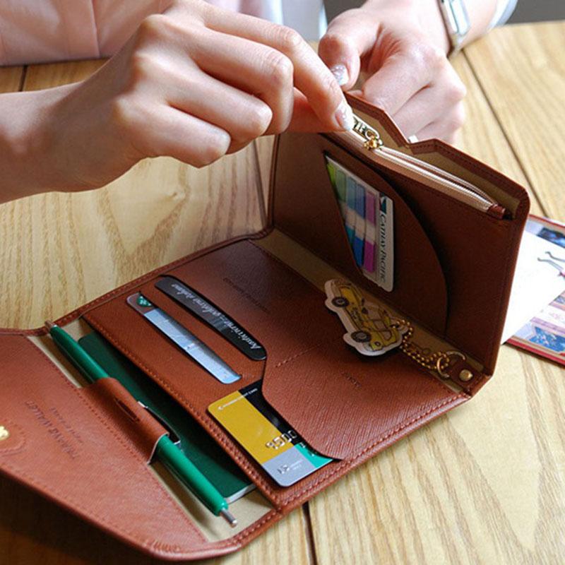 Reispaspoort Cover Opvouwbare Creditcardhouder Geld Portemonnee ID Multifunctionele Documenten Vlucht Bit Licentie Portemonnee Tas PC0045 (8)