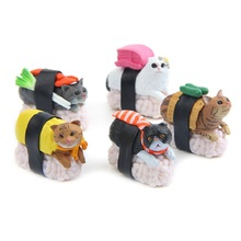 5pcs/lot Delicious Food Series Japan Sushi Cat Figures Toys DIY Micro Landscape Decoration Toys Model Children Christmas Gift(China)