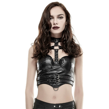 Sexy Punk Women's Vest 2017 Spring Summer Faux Leather Waistcoats Black Gothic Pu Sleeveless Vest V-neck Womens Clothing