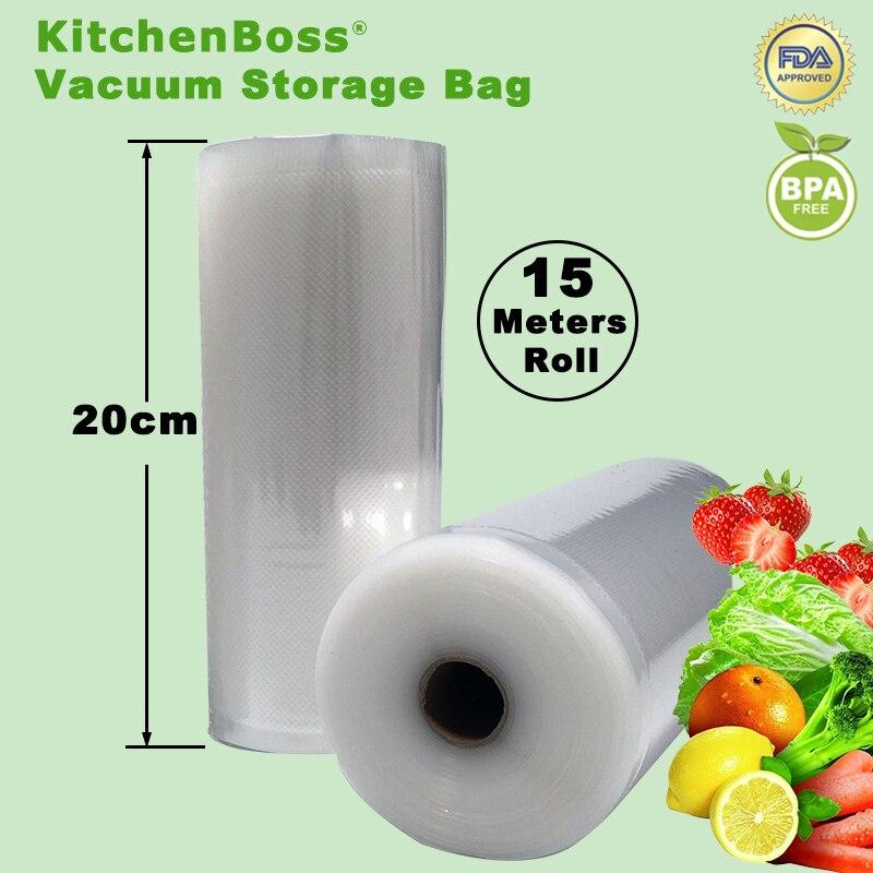 20cm x 15 meters KitchenBoss Fresh-keeping bag of vacuum sealer food storage bags packaging film keep fresh up to 6x longer<br>