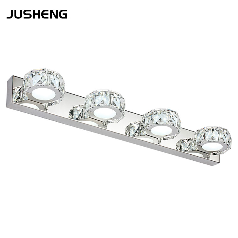 Luxurious Crystal LED Mirror Lamp 4-lights 12W Round Crystal Led Wall Sconces Lighting Fixture in Bathroom