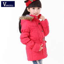 manufacturers Flowers 2016 Brand New Girls Jackets & Coats Double-breasted Children Winter Outwear Totem Pattern Kids Jackets