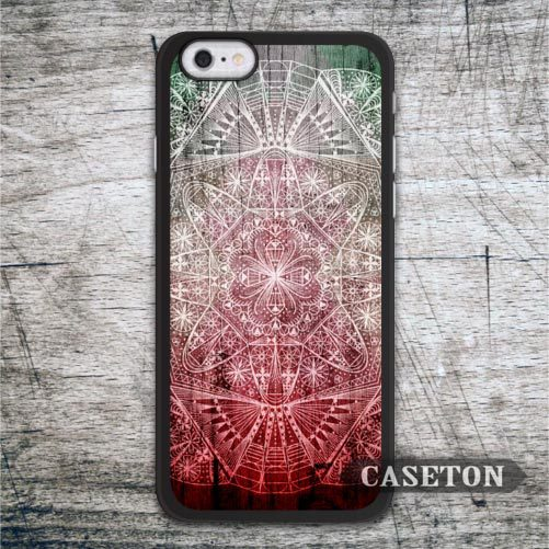 Abstract Red Floral Mandala Case For iPhone 7 6 6s Plus 5 5s SE 5c 4 4s and For iPod 5 Classic Phone Cover Retail Wholesale