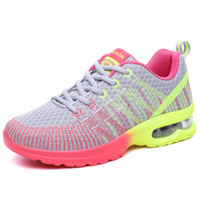 NEW Women Girls Breathable Mesh Running Shoes Lace Up Cushioning Outdoor Toning Walking Sports Sneakers Athletic Shoes(China)