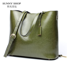 SUNNY SHOP American Fashon Design Women Shoulder Bag Genuine Leather Women Bag Cowhide Handbags Real leather cow skin Bag(China)