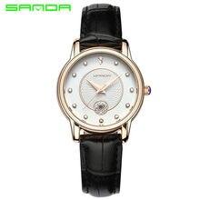 898ee406307 SANDA Fita Relógio de Forma das Mulheres de Diamante Cinto de Couro Senhoras  Quartzo Negócio Calendário