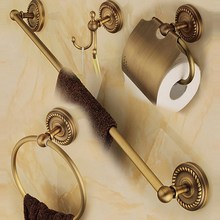 Antique Brass Bathroom Accessories Set,Robe hook,Paper Holder,Towel Bar,Towel Ring,bathroom Fitting aset003(China)